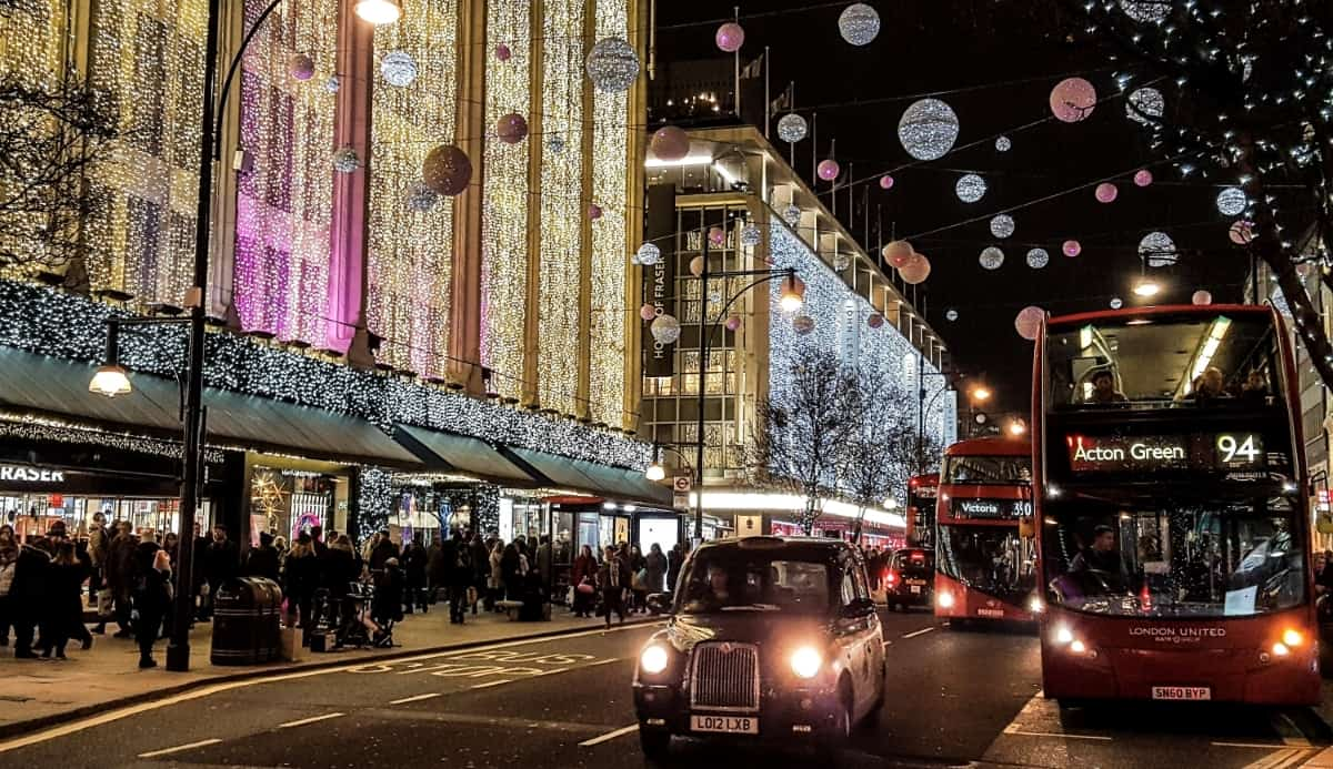 Oxford Street with Christmas lights decorations